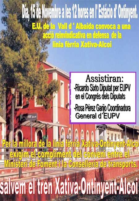 Linea Ferrea EUPV Vall d´Albaida convoca acto en apoyo de la linea férrea Xativa-Ontinyent-Alcoi