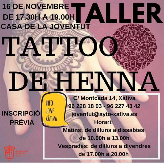 Xativa, Taller tatuatges de Henna