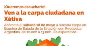 Ciudadanos Xàtiva Juan Giner ofrece una Carpa Ciudadana el sabado y un Encuentro Ciudadano