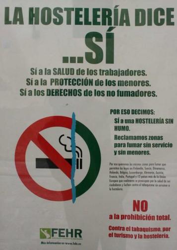 Cartel Ley Antitabaco de los hosteleros