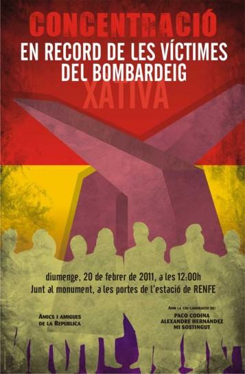 Cartell en record de les víctimes del bombardeig a l'estació de Xàtiva